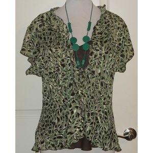 2 pc artsy sheer blouse set ruffled w/ tank EUC